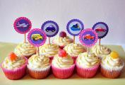 Boys' theme paper topper cupcakes