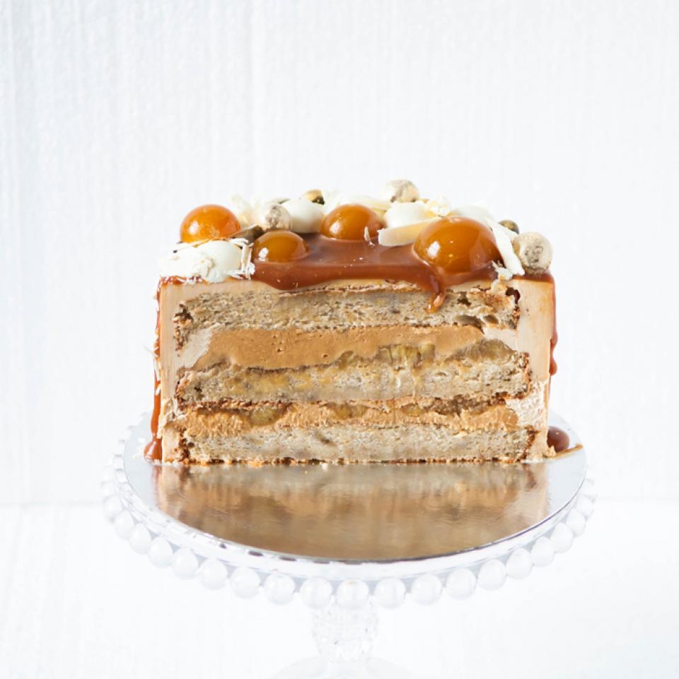 Banana salted caramel cake, buy online London delivery