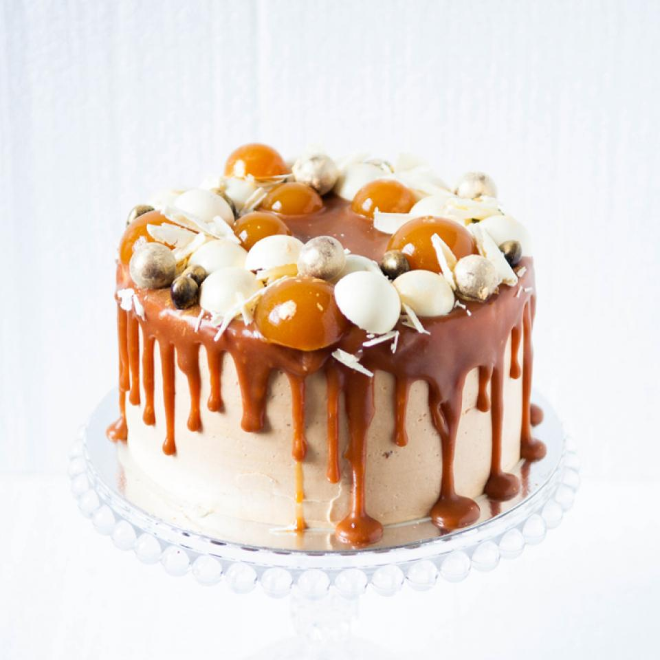 "Banana salted caramel cake, buy online 8"" - £60.00"