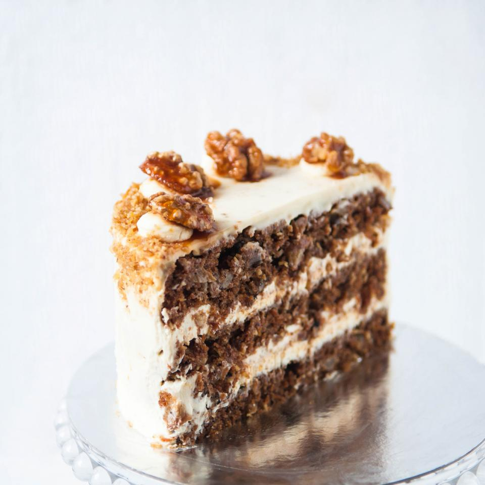 "Birthday 10"" carrot walnut cake buy online delivered Loughton"