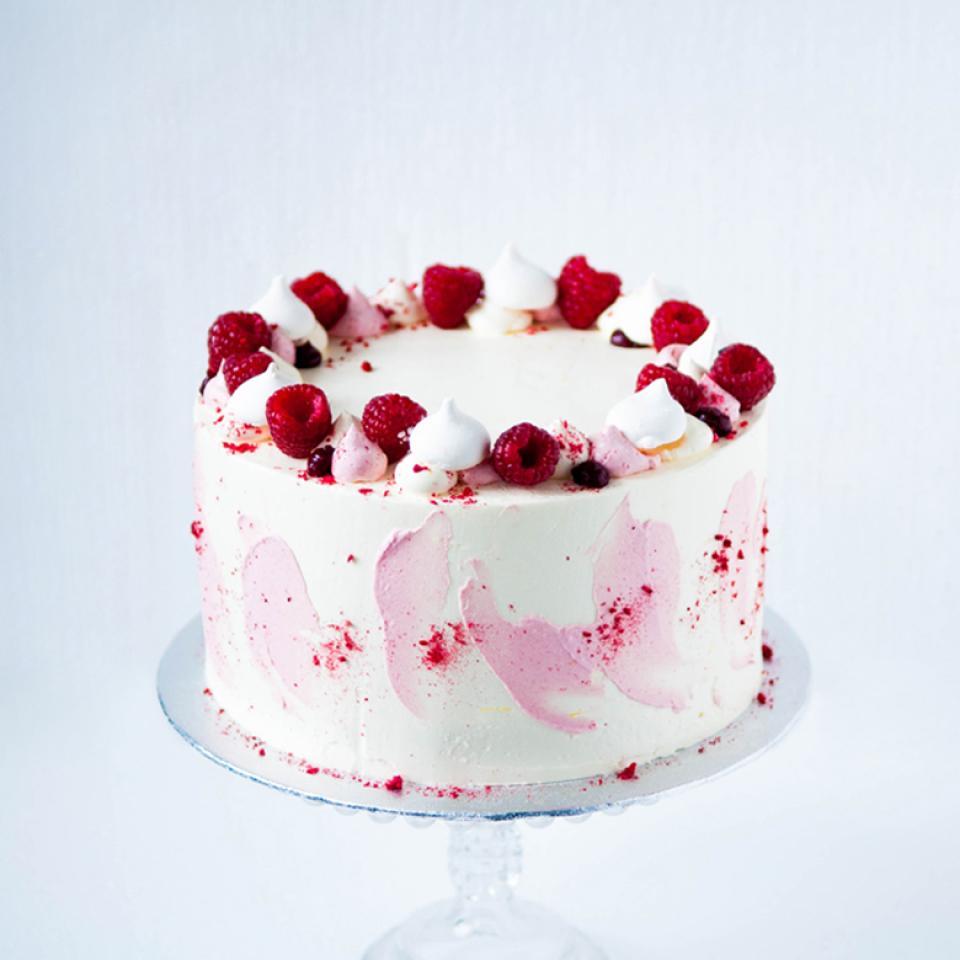 Birthday lemon white chocolate raspberry cake buy online London delivery