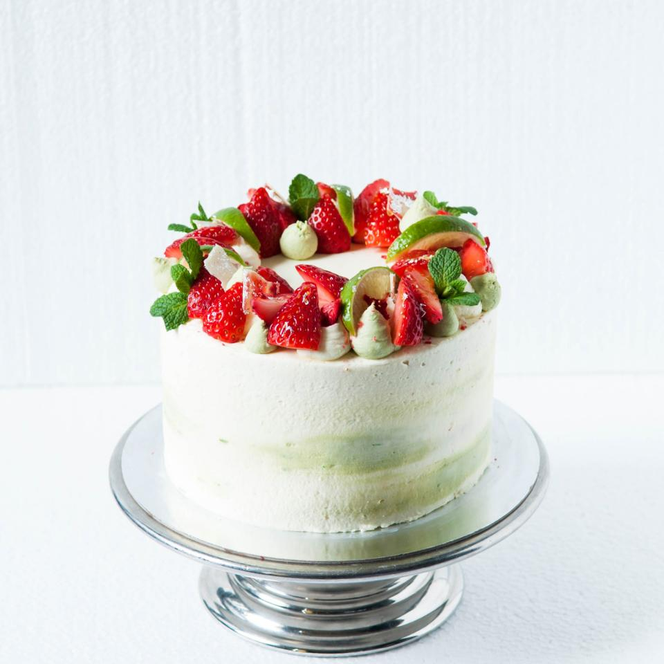 Strawberry white chocolate and lime cake
